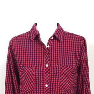 Aerie Plaid Flannel Button Down Shirt Red Black XL